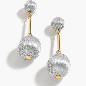 J.Crew Metallic Thread Ball Drop Earrings NWOT